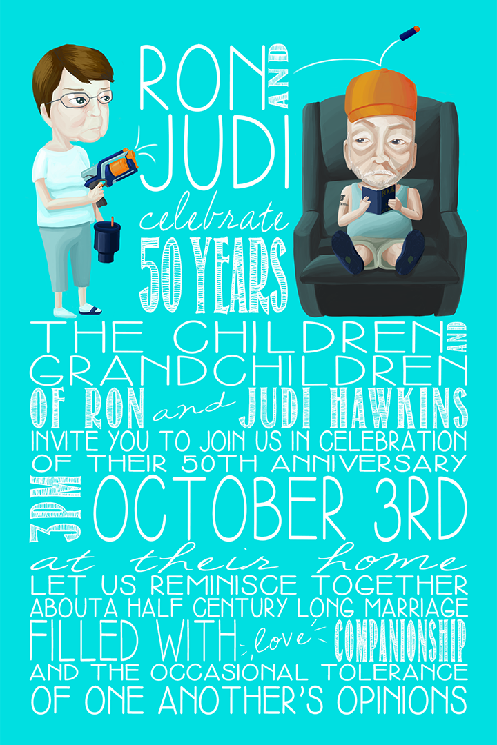 a colorful illustration of an older woman with short brown hair firing a nerf gun at an older man wearing a trucker hat, sitting in a lazy boy chair reading a book, with text below containing information about the time and date of stephanie's grandparent's 50th anniversary party