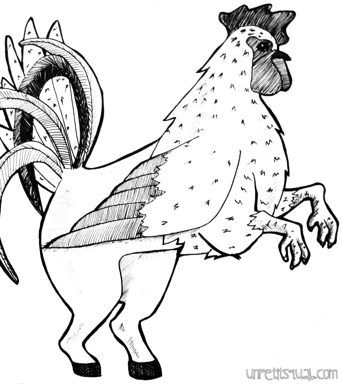 a line drawing of something resembling a hippogriff, but with the bird part as a chicken instead of an eagle