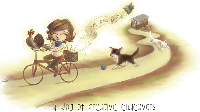 an illustration of stephanie riding a bicycle down a road. There is a small grey rooster on her handle bars and yarn trailing out of a basket attached to the back of her bike. There is a fat pigeon holding a banner also attached to her bike with the words 'un petit squab' written on it. She has two dogs following her down the path, and at the end of the path is a tiny house on a trailer with her partner, Jason and a few more chickens next to it. There is text at the bottom of the illustration that reads, 'a blog of creative endeavors.'