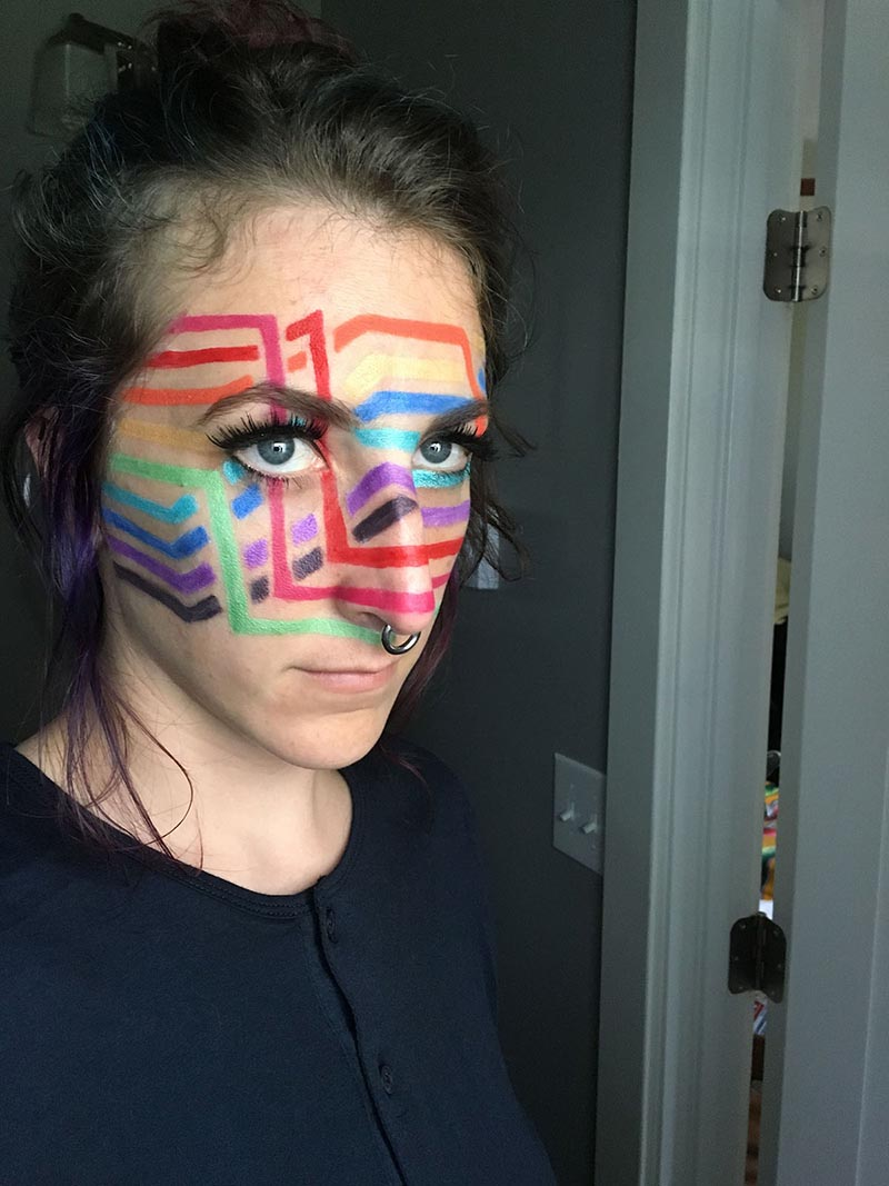stephanie has an image portraying insertion sort painted on her face