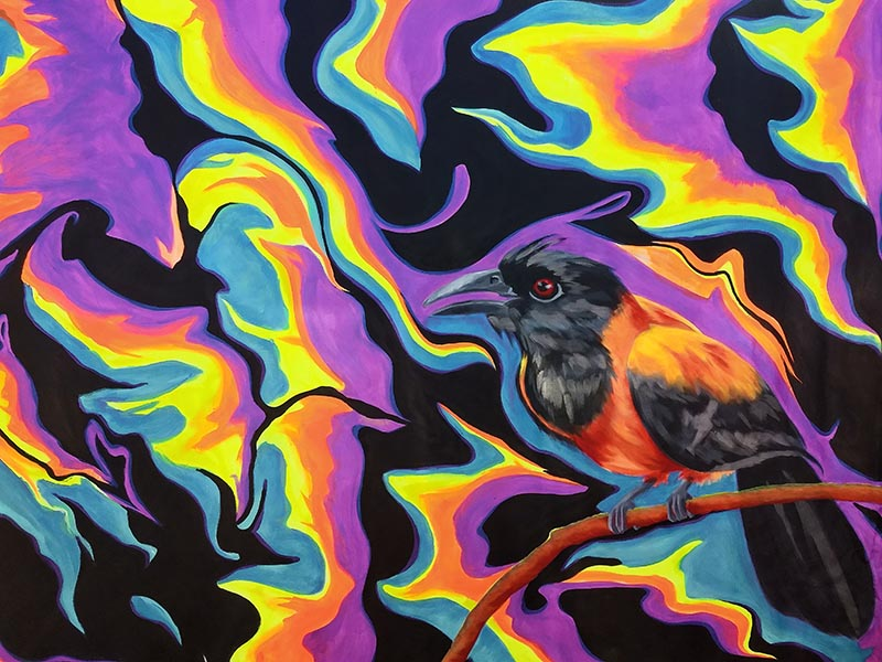 the same bird painging, but with psychedelic black, yellow, orange and blue swirls around it