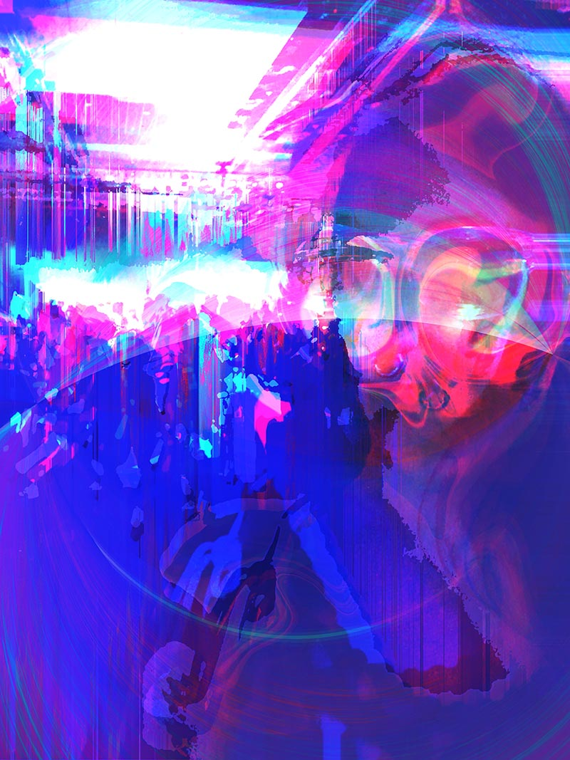 a swirly glitched portrait with bright blue and fuschia overlays