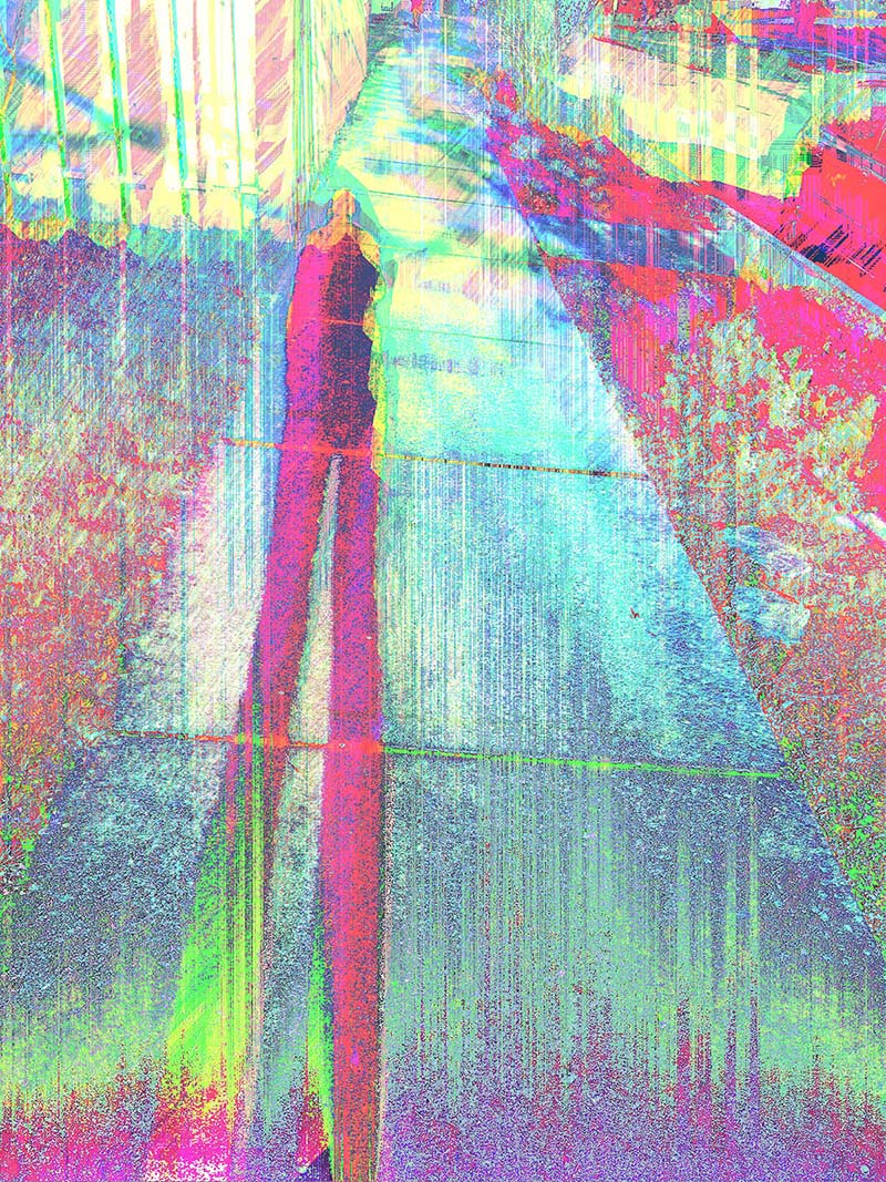 a pastel toned glitch art that features painterly like pixel sorting. The image is of a sidewalk and a person's shadow cast down towards the left side.