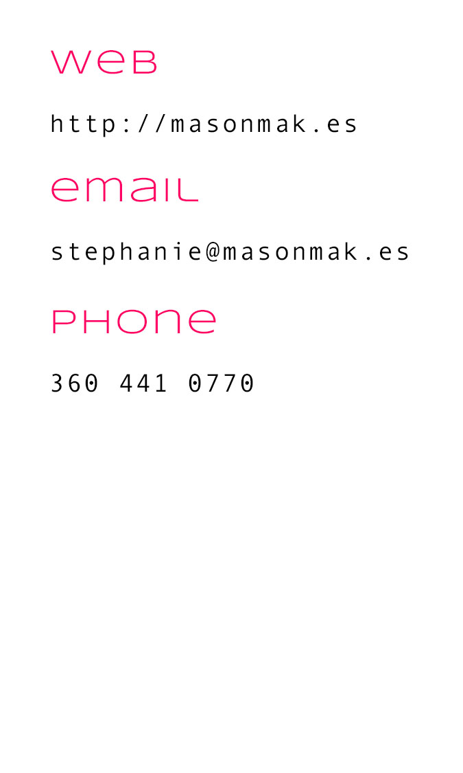 the back of the business card, with the headings web, email, and phone highlighted in pink and the info under each heading in black. (That info can be found in the contact section of the menu on this site)