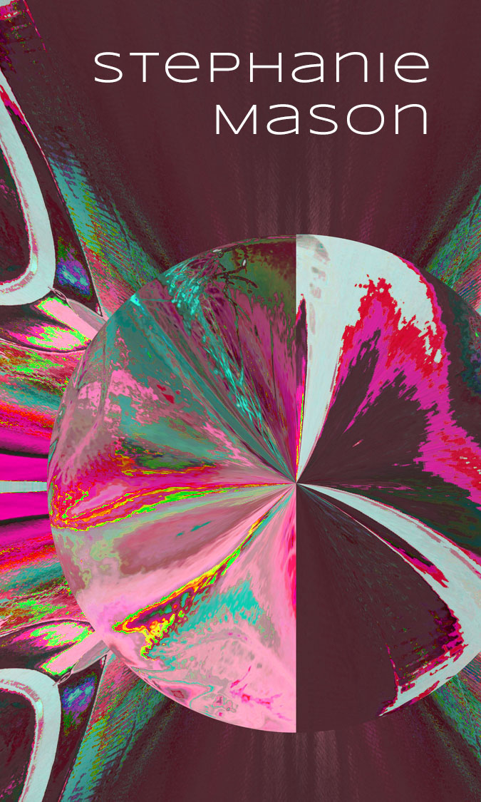 the front of a business card, featuring a glitched background of pinks and greens and a distorted circle in the middle. The text says Stephanie Mason.